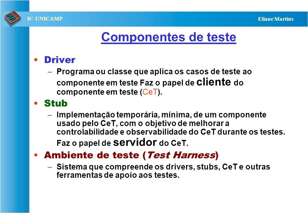 QST112 06/2001 IC-UNICAMP Eliane Martins Componentes de teste Driver –Programa ou classe que aplica os casos de teste ao componente em teste Faz o papel de cliente do componente em teste (CeT).