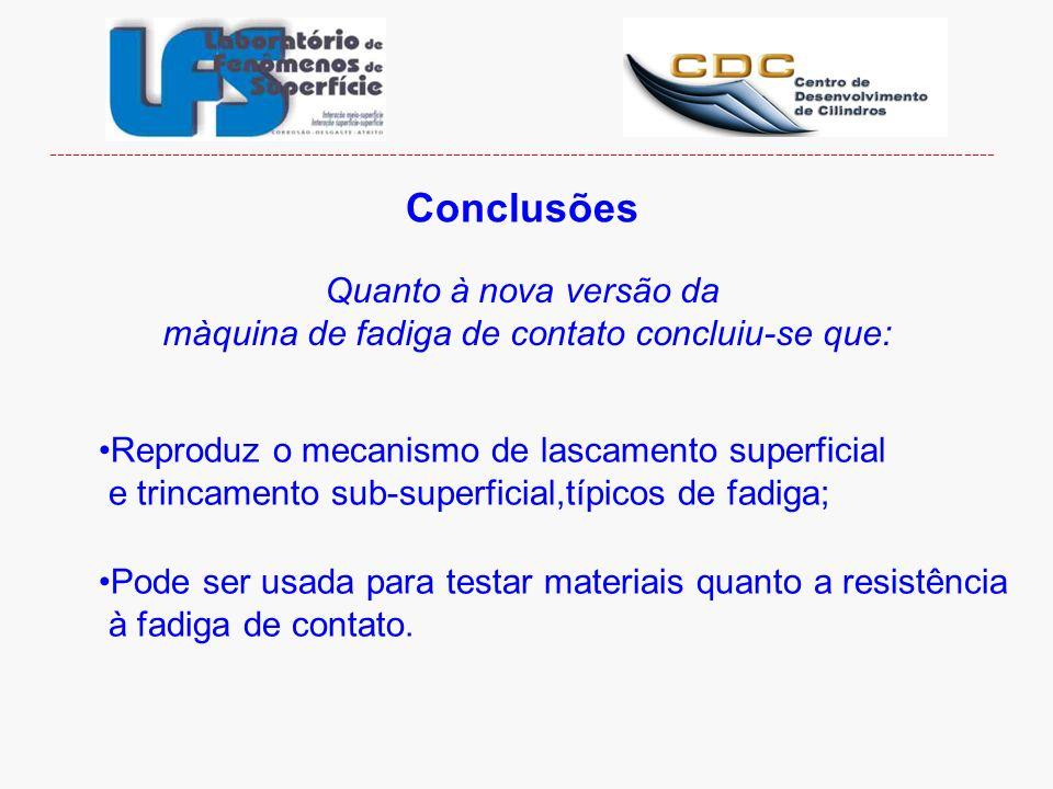 Conclusões Quanto à nova versão da màquina de fadiga de contato concluiu-se que: Reproduz o mecanismo de lascamento superficial e trincamento sub-supe