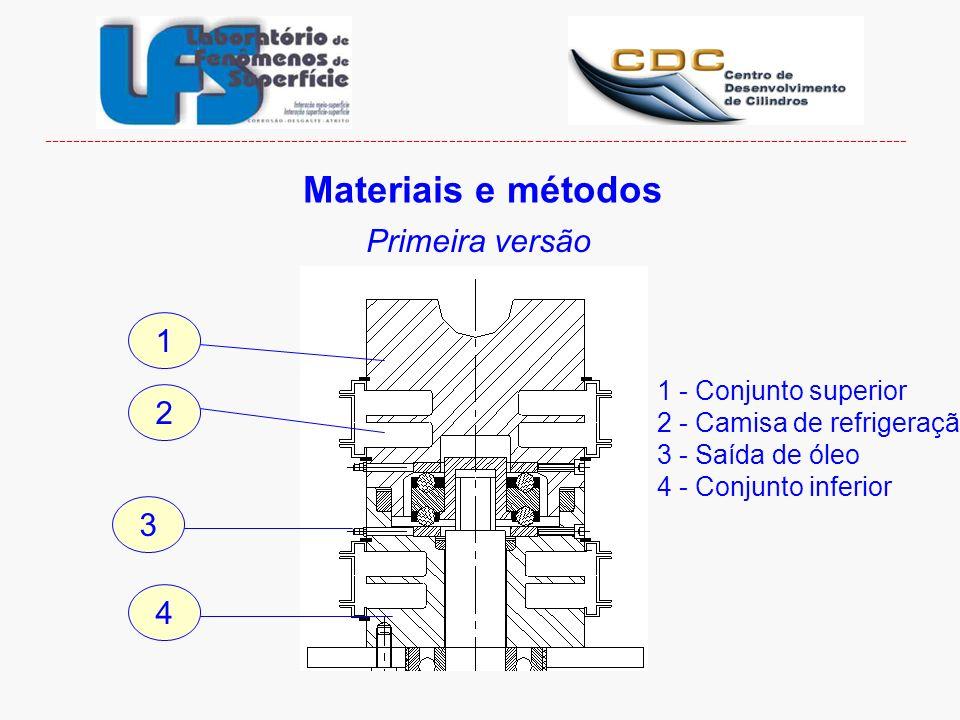 1 - Conjunto superior 2 - Camisa de refrigeração 3 - Saída de óleo 4 - Conjunto inferior 1 2 3 4 Materiais e métodos Primeira versão -----------------