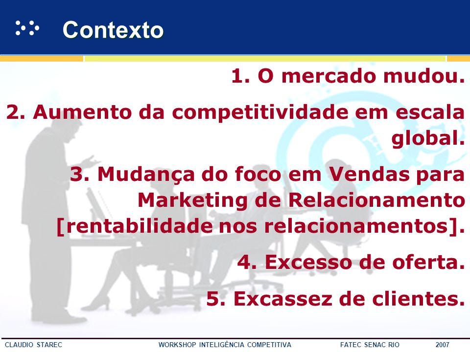 9 CLAUDIO STAREC WORKSHOP INTELIGÊNCIA COMPETITIVA FATEC SENAC RIO 2007 Cenário de Mudanças Hoje, única coisa permanente é a mudança... Heráclito Hoje