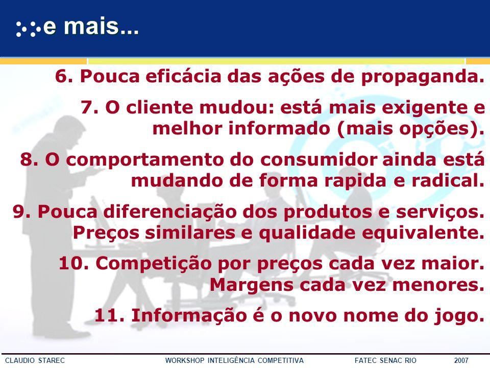 10 CLAUDIO STAREC WORKSHOP INTELIGÊNCIA COMPETITIVA FATEC SENAC RIO 2007 Contexto 1.O mercado mudou. 2.Aumento da competitividade em escala global. 3.