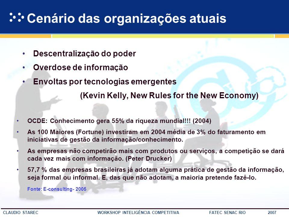 15 CLAUDIO STAREC WORKSHOP INTELIGÊNCIA COMPETITIVA FATEC SENAC RIO 2007 A Terceira Onda Na atualidade vivemos em uma sociedade movida pela informação