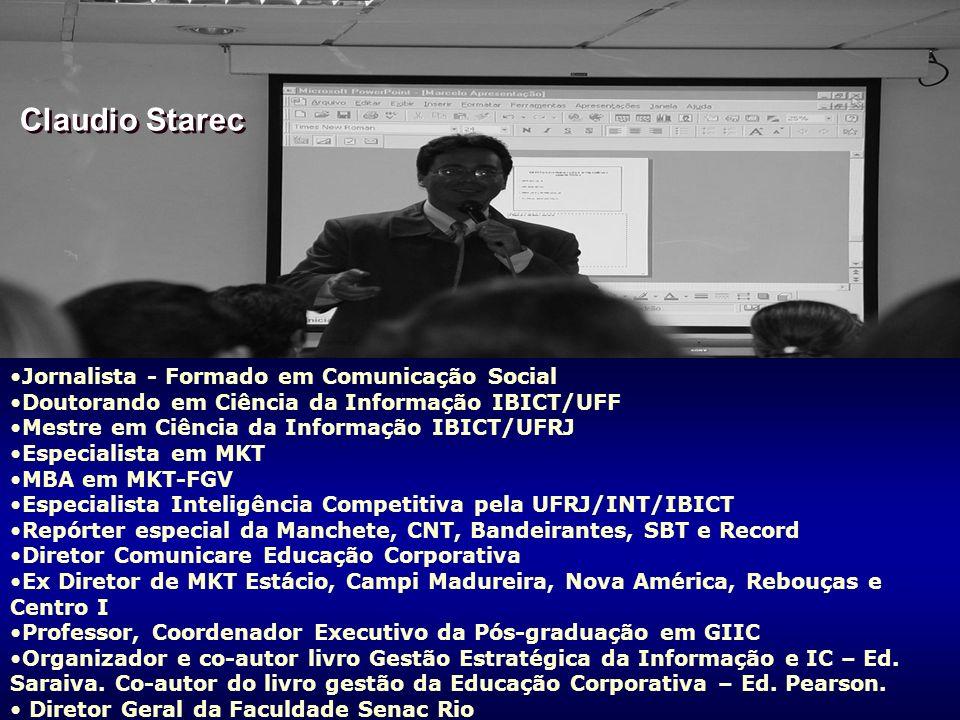 2 CLAUDIO STAREC WORKSHOP INTELIGÊNCIA COMPETITIVA FATEC SENAC RIO 2007 Jornalista - Formado em Comunicação Social Doutorando em Ciência da Informação IBICT/UFF Mestre em Ciência da Informação IBICT/UFRJ Especialista em MKT MBA em MKT-FGV Especialista Inteligência Competitiva pela UFRJ/INT/IBICT Repórter especial da Manchete, CNT, Bandeirantes, SBT e Record Diretor Comunicare Educação Corporativa Ex Diretor de MKT Estácio, Campi Madureira, Nova América, Rebouças e Centro I Professor, Coordenador Executivo da Pós-graduação em GIIC Organizador e co-autor livro Gestão Estratégica da Informação e IC – Ed.
