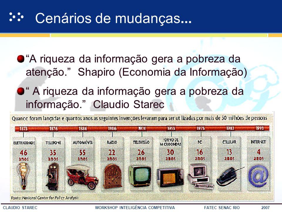 19 CLAUDIO STAREC WORKSHOP INTELIGÊNCIA COMPETITIVA FATEC SENAC RIO 2007 O Contexto informacional O CAOS DOCUMENTÁRIO A OVERDOSE DA INFORMAÇÃO A TSUMA