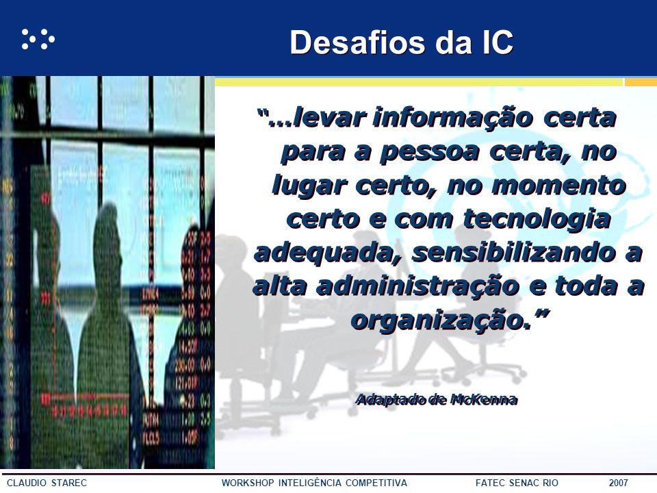 30 CLAUDIO STAREC WORKSHOP INTELIGÊNCIA COMPETITIVA FATEC SENAC RIO 2007 Ação Organizacional Tomada de Decisões Processamento da informação Construção