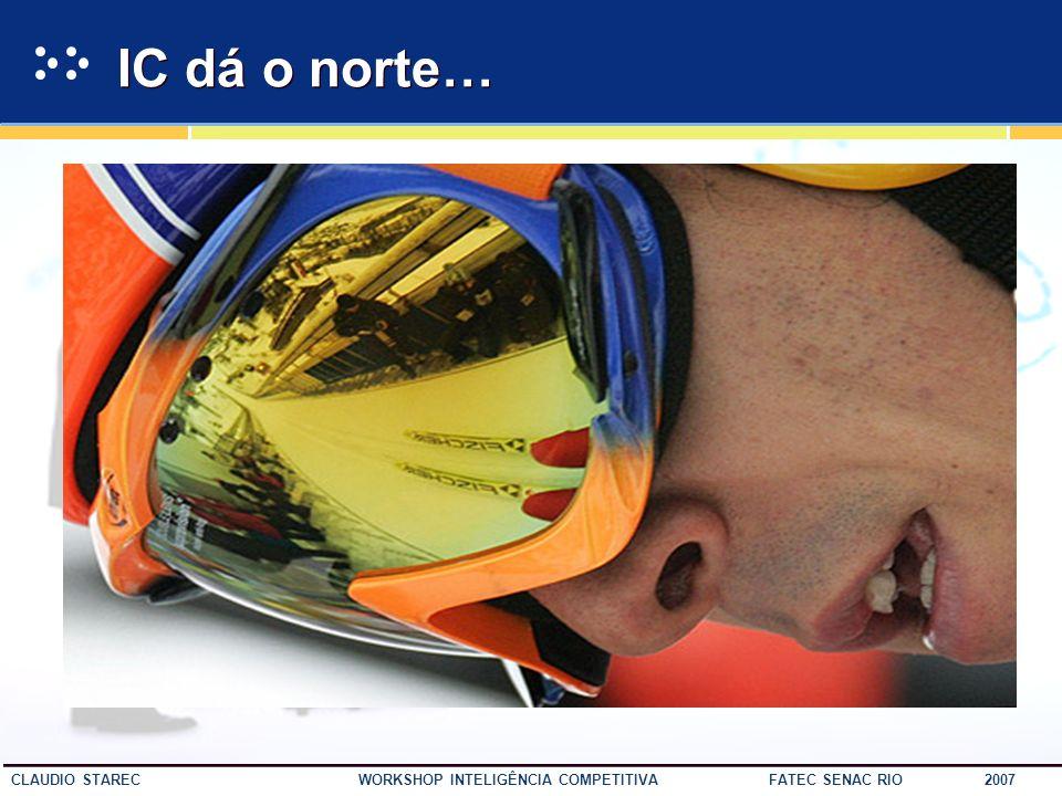 37 CLAUDIO STAREC WORKSHOP INTELIGÊNCIA COMPETITIVA FATEC SENAC RIO 2007 PapelAtuação Constitui um sistema de coleta, tratamento, análise e disseminaç