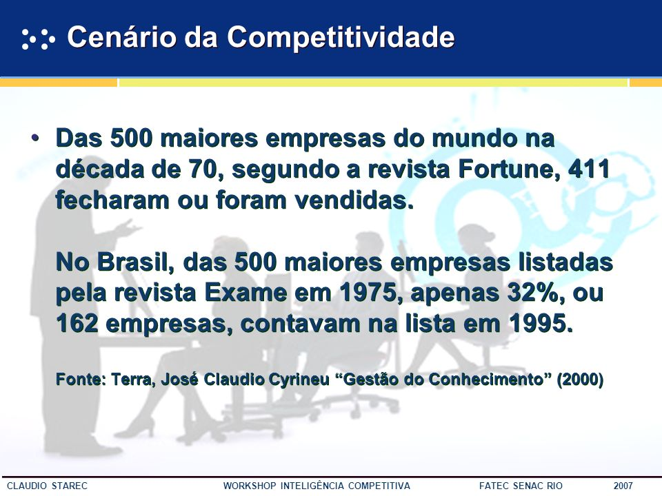 3 CLAUDIO STAREC WORKSHOP INTELIGÊNCIA COMPETITIVA FATEC SENAC RIO 2007 If you dont have competitive advantage, dont compete. Jack Welch ex-CEO GE If