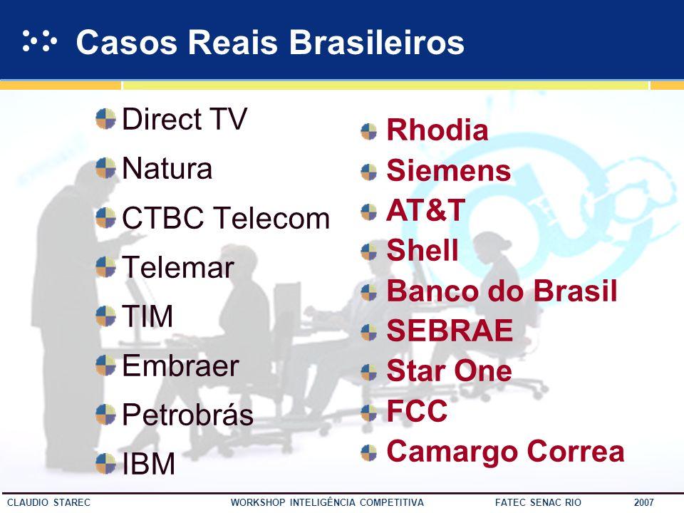 43 CLAUDIO STAREC WORKSHOP INTELIGÊNCIA COMPETITIVA FATEC SENAC RIO 2007 Política Externa EUA Cardápio Calorias Refeição Saúde Cheque Cultura Bem esta