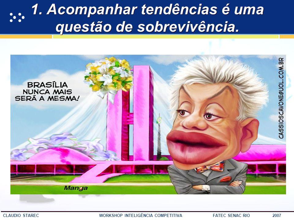 45 CLAUDIO STAREC WORKSHOP INTELIGÊNCIA COMPETITIVA FATEC SENAC RIO 2007 Sem rumo... Se você não sabe para onde ir, qualquer caminho serve. Alice no P