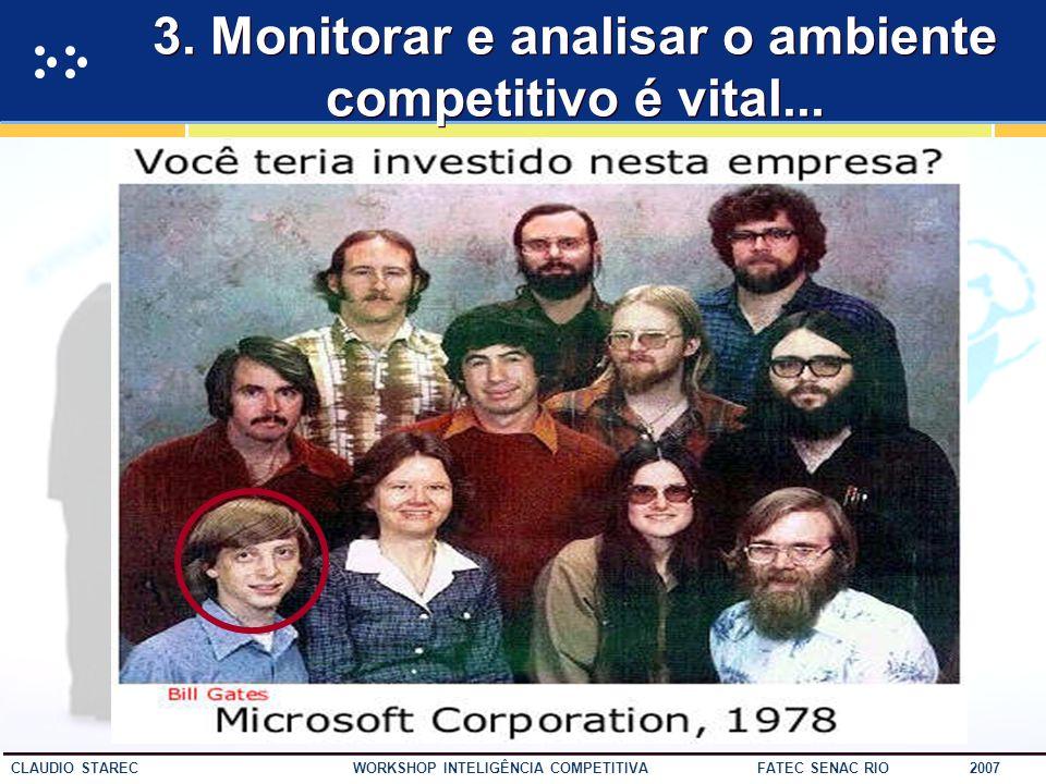 47 CLAUDIO STAREC WORKSHOP INTELIGÊNCIA COMPETITIVA FATEC SENAC RIO 2007 2. Preste atenção aos sinais do mercado
