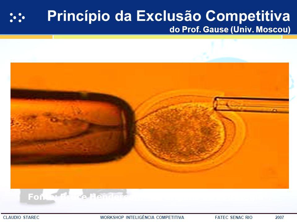25 CLAUDIO STAREC WORKSHOP INTELIGÊNCIA COMPETITIVA FATEC SENAC RIO 2007 Hierarquia da Informação 80% 15% 5% 20% 25% 55% Fonte: Shaker, Gembicki, 1999 Inteligência Informação Dados