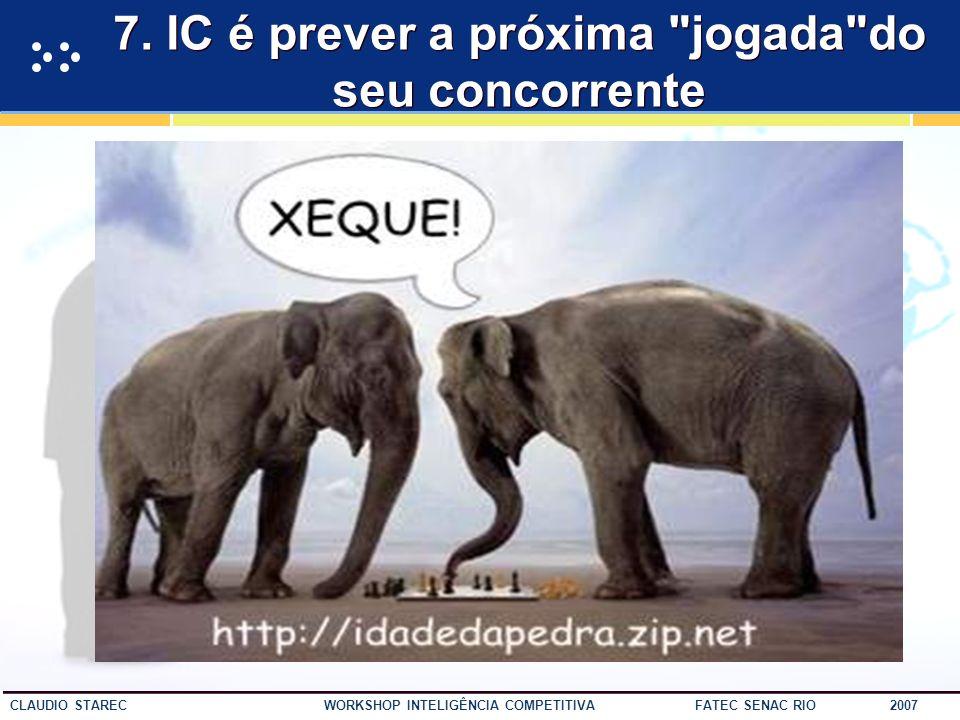 51 CLAUDIO STAREC WORKSHOP INTELIGÊNCIA COMPETITIVA FATEC SENAC RIO 2007 6. Inteligência Competitiva não é: Espionagem......