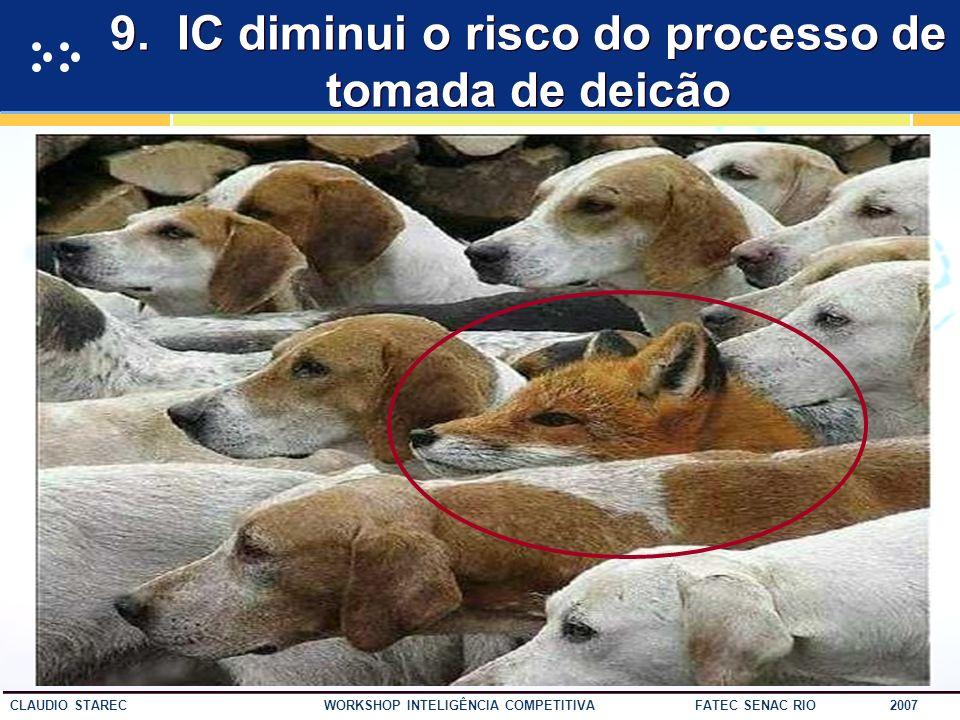 53 CLAUDIO STAREC WORKSHOP INTELIGÊNCIA COMPETITIVA FATEC SENAC RIO 2007 8. IC ajuda a identificar novas oportunidades de negócios