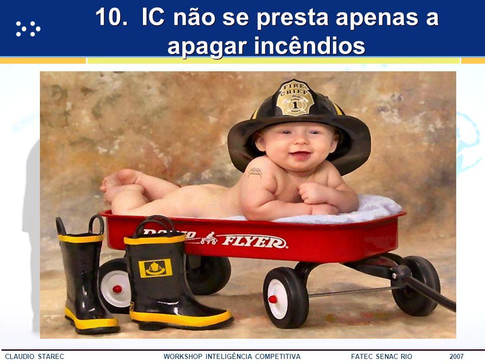 54 CLAUDIO STAREC WORKSHOP INTELIGÊNCIA COMPETITIVA FATEC SENAC RIO 2007 9. IC diminui o risco do processo de tomada de deicão