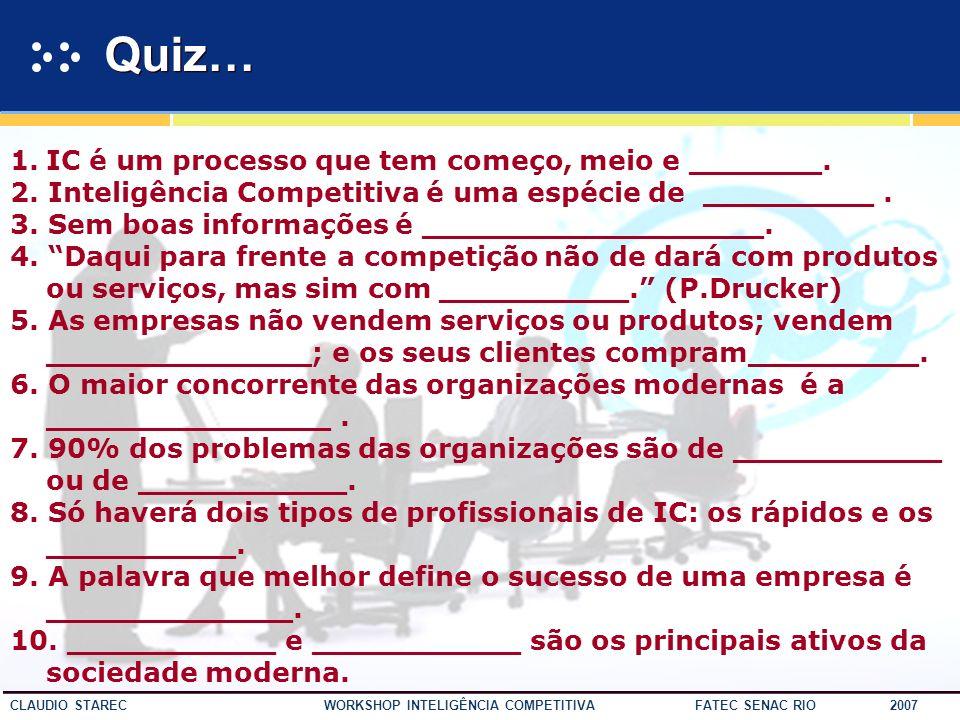 55 CLAUDIO STAREC WORKSHOP INTELIGÊNCIA COMPETITIVA FATEC SENAC RIO 2007 10. IC não se presta apenas a apagar incêndios