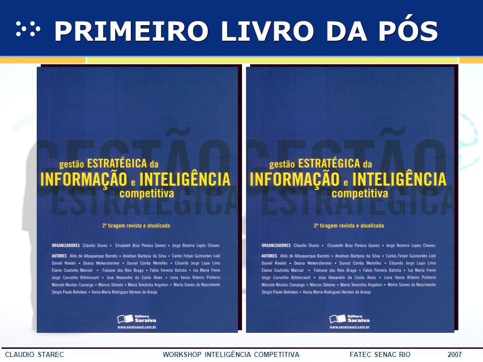 57 CLAUDIO STAREC WORKSHOP INTELIGÊNCIA COMPETITIVA FATEC SENAC RIO 2007 MBA EM GESTÃO DA INFORMAÇÃO E INTELIGÊNCIA COMPETITIVA Planejamento estratégi
