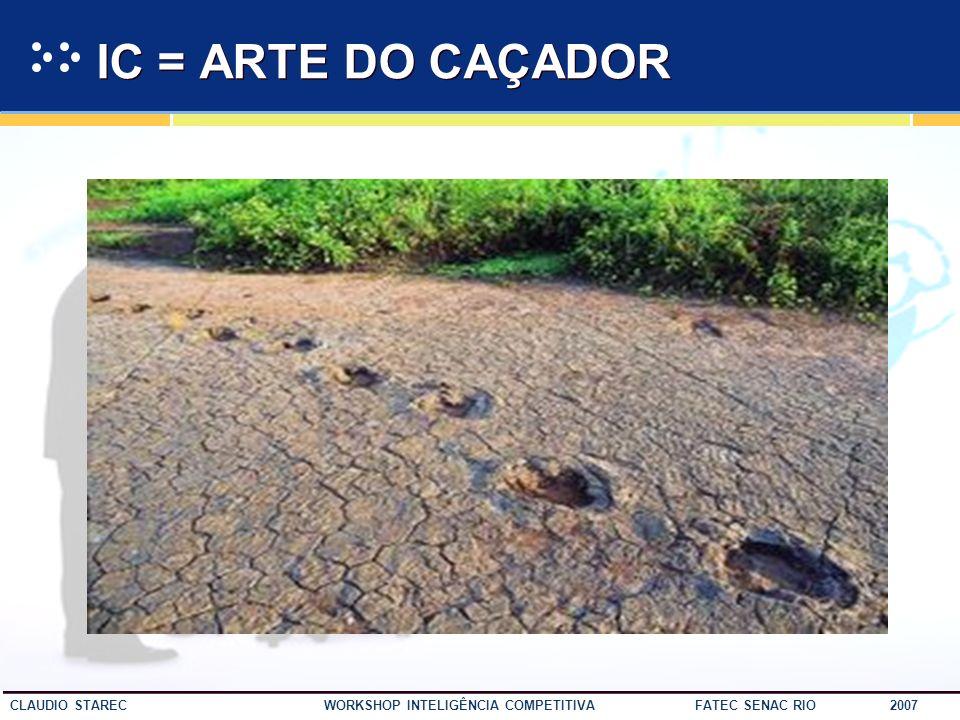 36 CLAUDIO STAREC WORKSHOP INTELIGÊNCIA COMPETITIVA FATEC SENAC RIO 2007 Em uma economia globalizada, as organizações precisam contar com informações de seus ambientes interno e externo, valendo-se de mecanismos e meios adequados à sua obtenção.