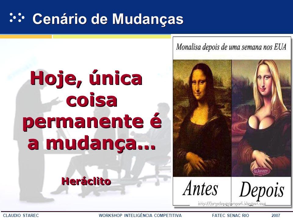 9 CLAUDIO STAREC WORKSHOP INTELIGÊNCIA COMPETITIVA FATEC SENAC RIO 2007 Cenário de Mudanças Hoje, única coisa permanente é a mudança...