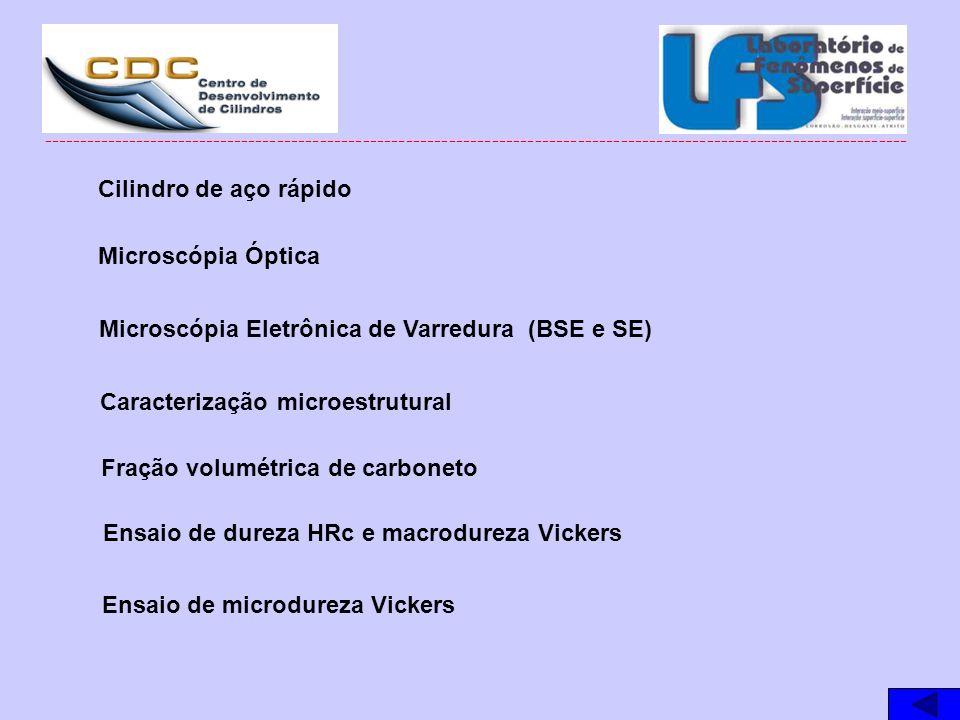 Microscópia Óptica Microscópia Eletrônica de Varredura (BSE e SE) Ensaio de dureza HRc e macrodureza Vickers Ensaio de microdureza Vickers Caracteriza