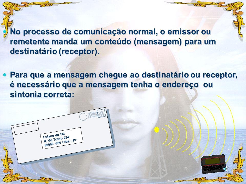 No processo de comunicação normal, o emissor ou remetente manda um conteúdo (mensagem) para um destinatário (receptor). No processo de comunicação nor