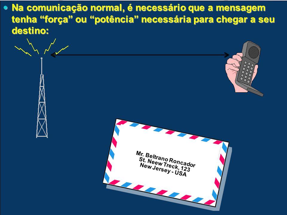 Na comunicação normal, é necessário que a mensagem tenha força ou potência necessária para chegar a seu destino: Na comunicação normal, é necessário q