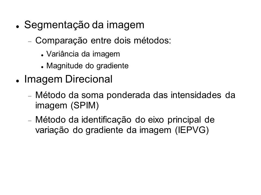 Segmentação da imagem Comparação entre dois métodos: Variância da imagem Magnitude do gradiente Imagem Direcional Método da soma ponderada das intensi