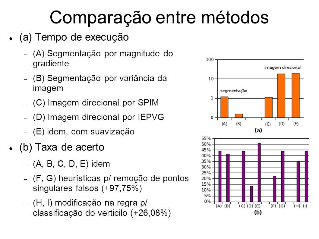 Comparação entre métodos (a) Tempo de execução (A) Segmentação por magnitude do gradiente (B) Segmentação por variância da imagem (C) Imagem direciona