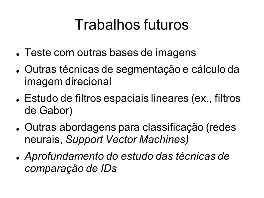 Trabalhos futuros Teste com outras bases de imagens Outras técnicas de segmentação e cálculo da imagem direcional Estudo de filtros espaciais lineares