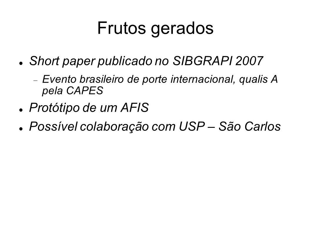 Frutos gerados Short paper publicado no SIBGRAPI 2007 Evento brasileiro de porte internacional, qualis A pela CAPES Protótipo de um AFIS Possível cola