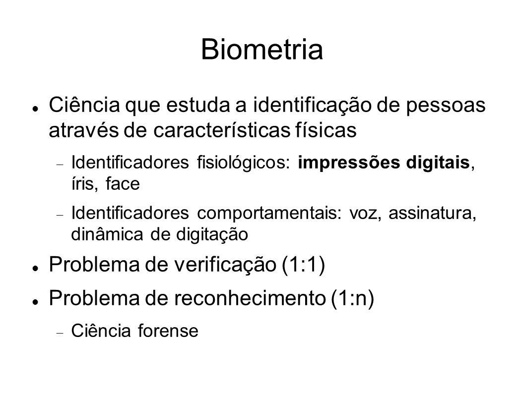Biometria Ciência que estuda a identificação de pessoas através de características físicas Identificadores fisiológicos: impressões digitais, íris, fa