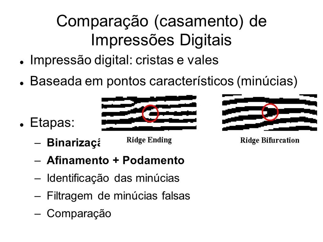 Comparação (casamento) de Impressões Digitais Impressão digital: cristas e vales Baseada em pontos característicos (minúcias) Etapas: – Binarização –