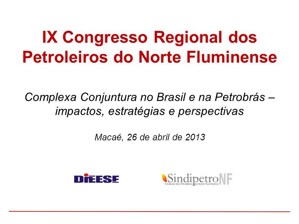 Complexa Conjuntura no Brasil e na Petrobrás – impactos, estratégias e perspectivas Macaé, 26 de abril de 2013 IX Congresso Regional dos Petroleiros d