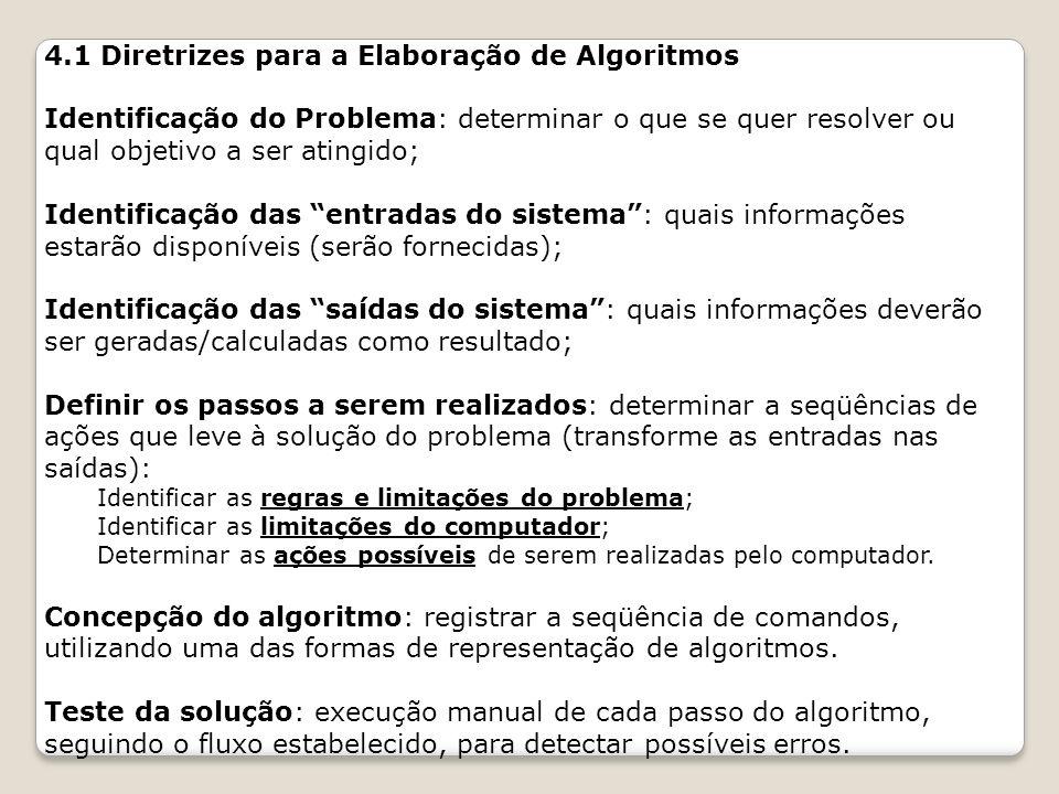 4.1 Diretrizes para a Elaboração de Algoritmos Identificação do Problema: determinar o que se quer resolver ou qual objetivo a ser atingido; Identific