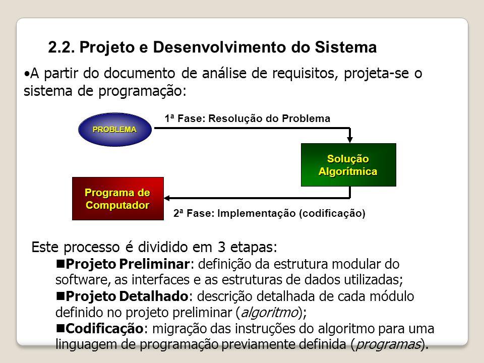 2.2. Projeto e Desenvolvimento do Sistema A partir do documento de análise de requisitos, projeta-se o sistema de programação: PROBLEMA SoluçãoAlgorít
