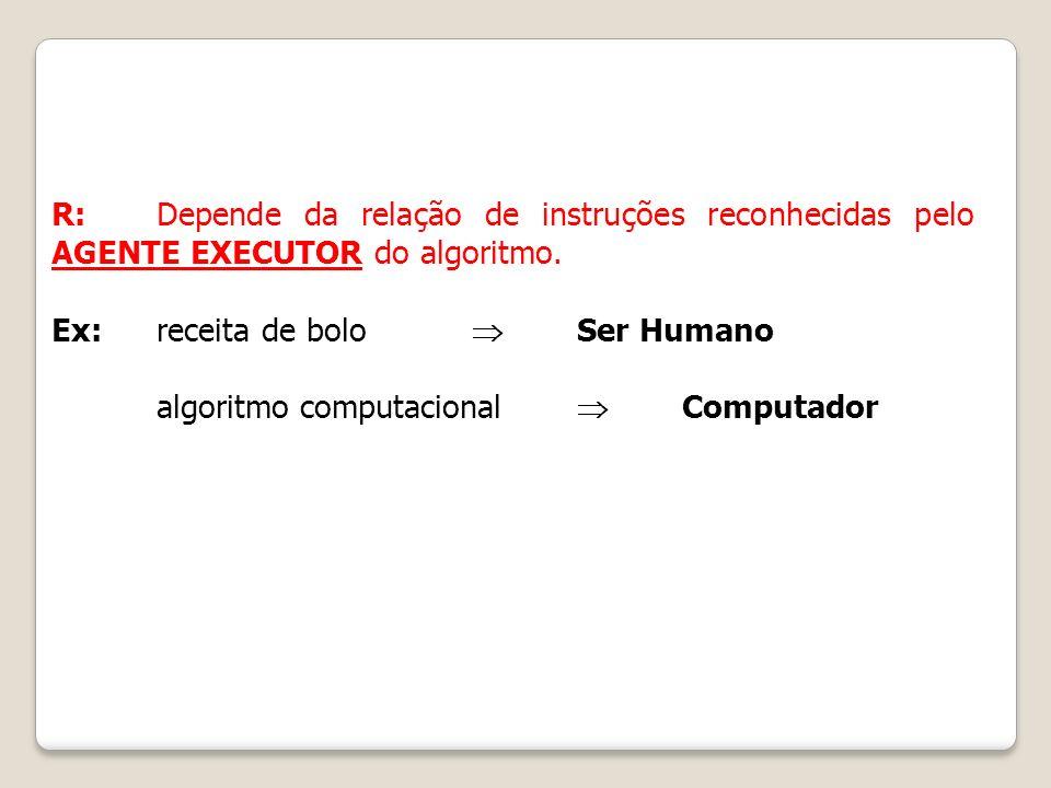 R: Depende da relação de instruções reconhecidas pelo AGENTE EXECUTOR do algoritmo. Ex: receita de bolo Ser Humano algoritmo computacional Computador