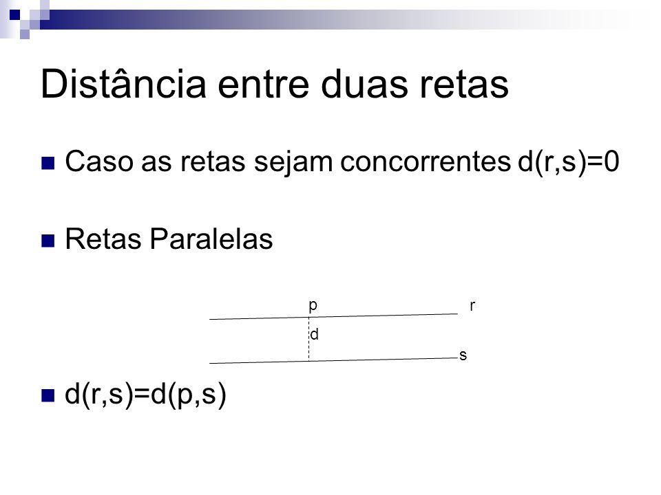 Distância entre duas retas Caso as retas sejam concorrentes d(r,s)=0 Retas Paralelas d(r,s)=d(p,s) d r s p