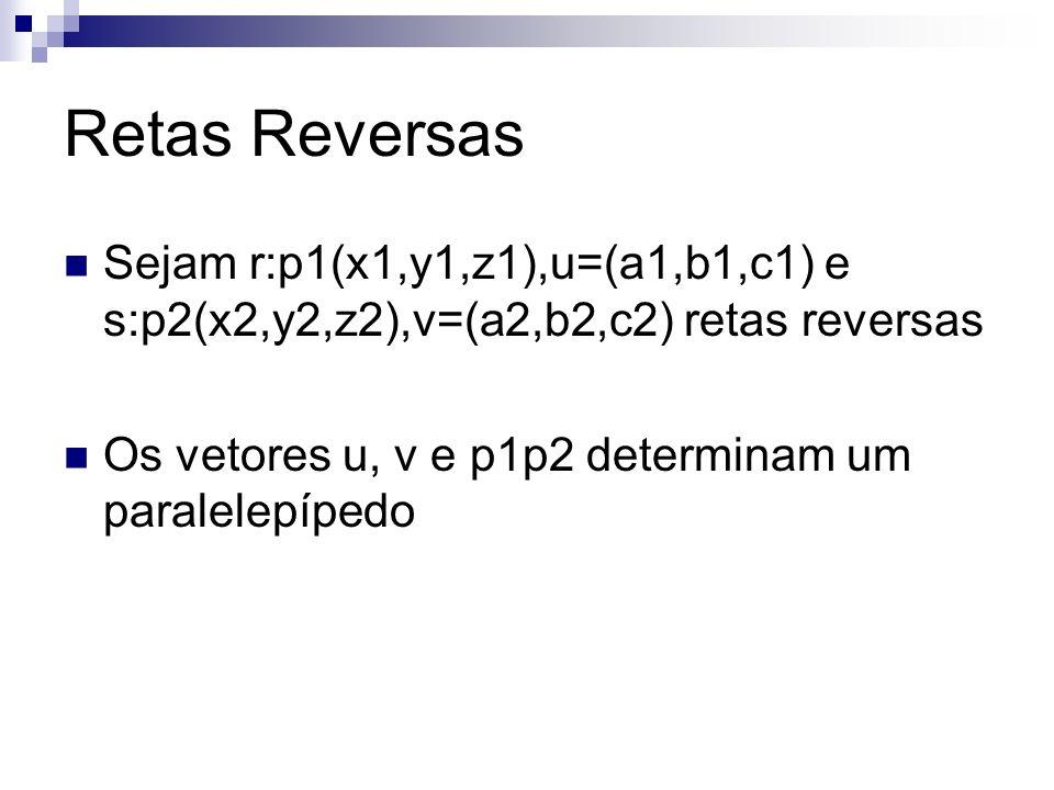 Retas Reversas Sejam r:p1(x1,y1,z1),u=(a1,b1,c1) e s:p2(x2,y2,z2),v=(a2,b2,c2) retas reversas Os vetores u, v e p1p2 determinam um paralelepípedo