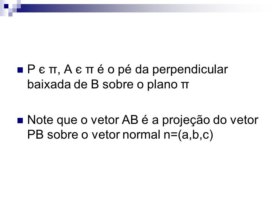 P є π, A є π é o pé da perpendicular baixada de B sobre o plano π Note que o vetor AB é a projeção do vetor PB sobre o vetor normal n=(a,b,c)