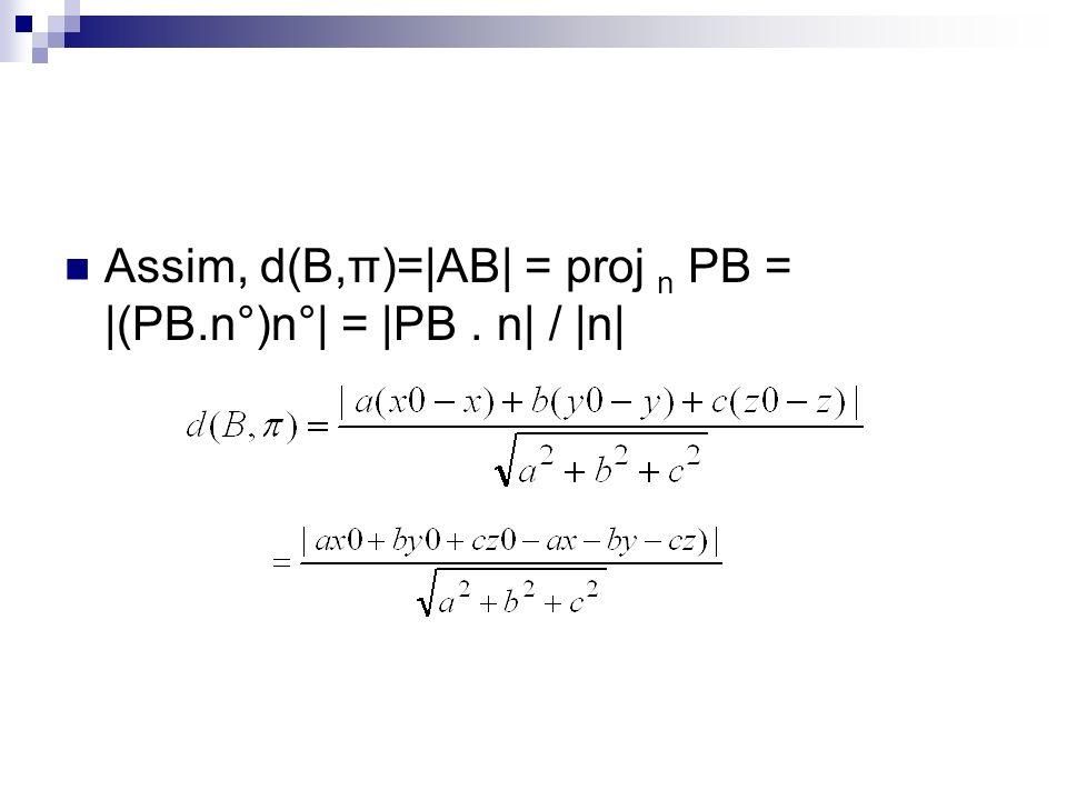 Assim, d(B,π)=|AB| = proj n PB = |(PB.n°)n°| = |PB. n| / |n|