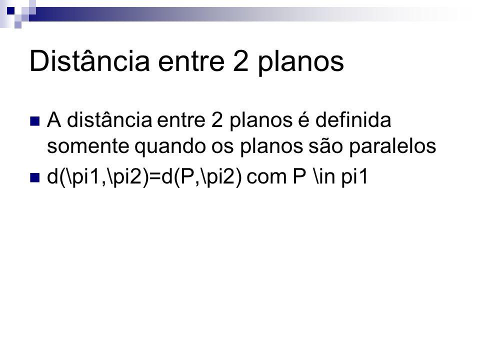 Distância entre 2 planos A distância entre 2 planos é definida somente quando os planos são paralelos d(\pi1,\pi2)=d(P,\pi2) com P \in pi1