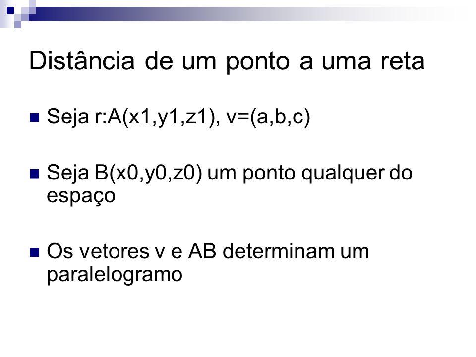 Distância de um ponto a uma reta Seja r:A(x1,y1,z1), v=(a,b,c) Seja B(x0,y0,z0) um ponto qualquer do espaço Os vetores v e AB determinam um paralelogr