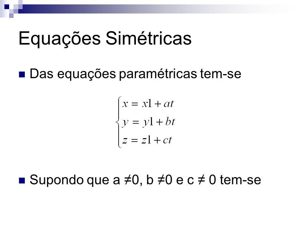 Equações Simétricas Das equações paramétricas tem-se Supondo que a 0, b 0 e c 0 tem-se