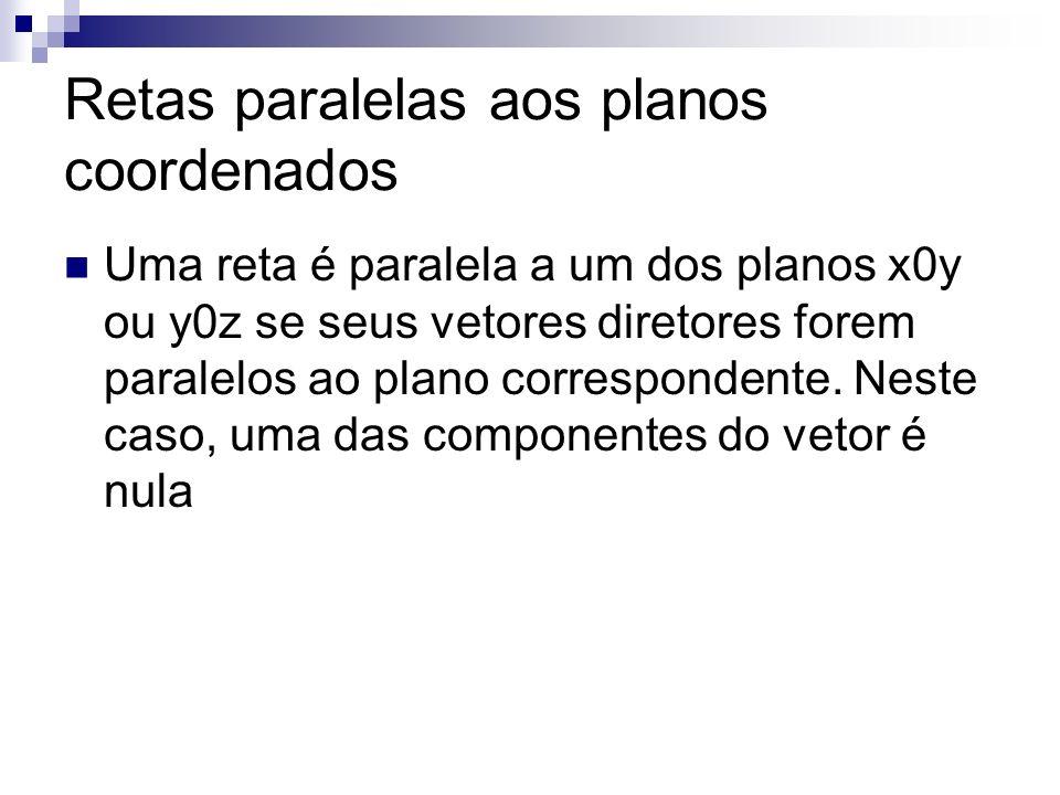 Retas paralelas aos planos coordenados Uma reta é paralela a um dos planos x0y ou y0z se seus vetores diretores forem paralelos ao plano correspondent