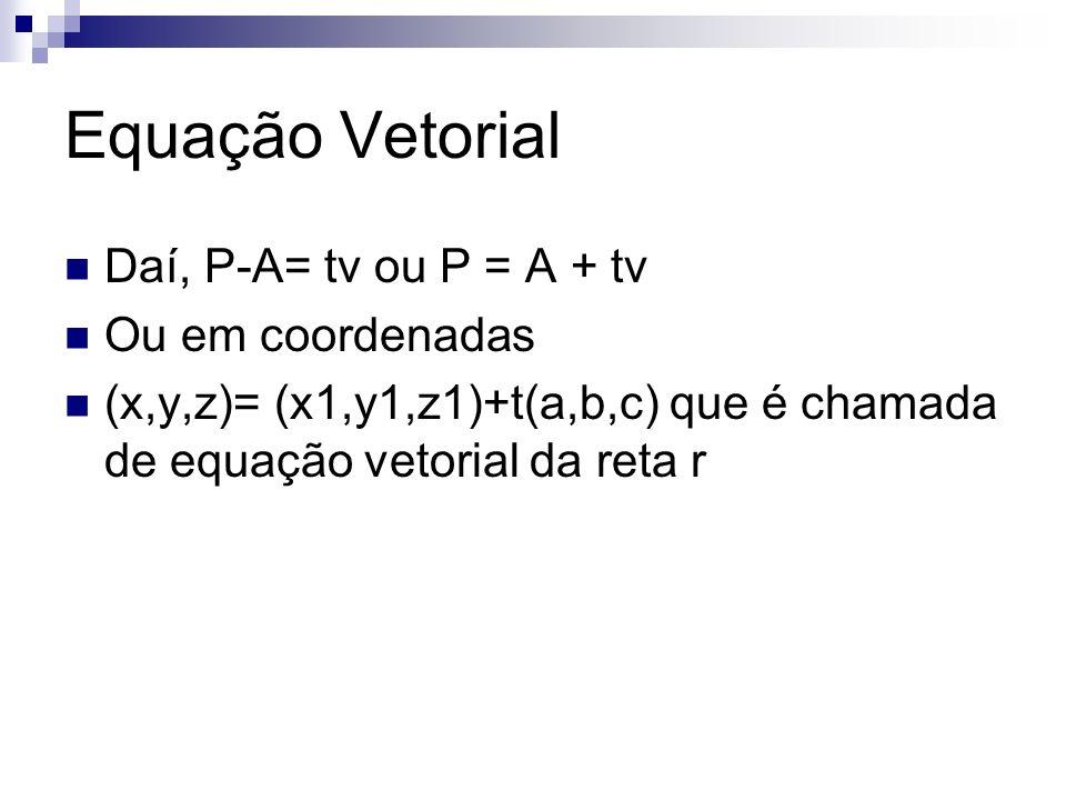 Equação Vetorial Daí, P-A= tv ou P = A + tv Ou em coordenadas (x,y,z)= (x1,y1,z1)+t(a,b,c) que é chamada de equação vetorial da reta r