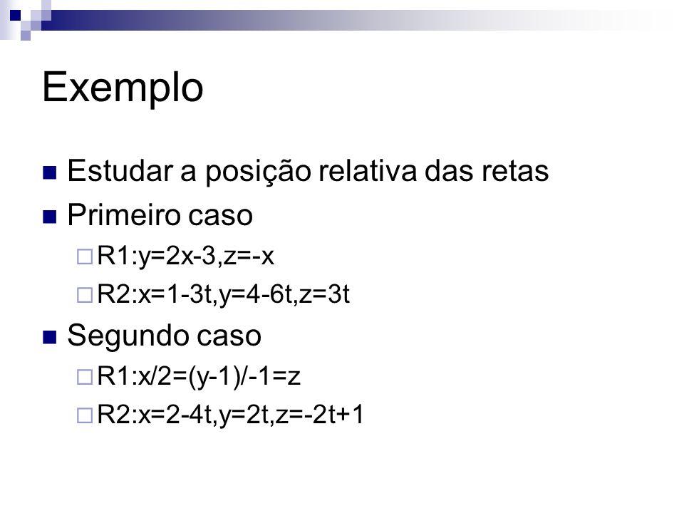 Exemplo Estudar a posição relativa das retas Primeiro caso R1:y=2x-3,z=-x R2:x=1-3t,y=4-6t,z=3t Segundo caso R1:x/2=(y-1)/-1=z R2:x=2-4t,y=2t,z=-2t+1