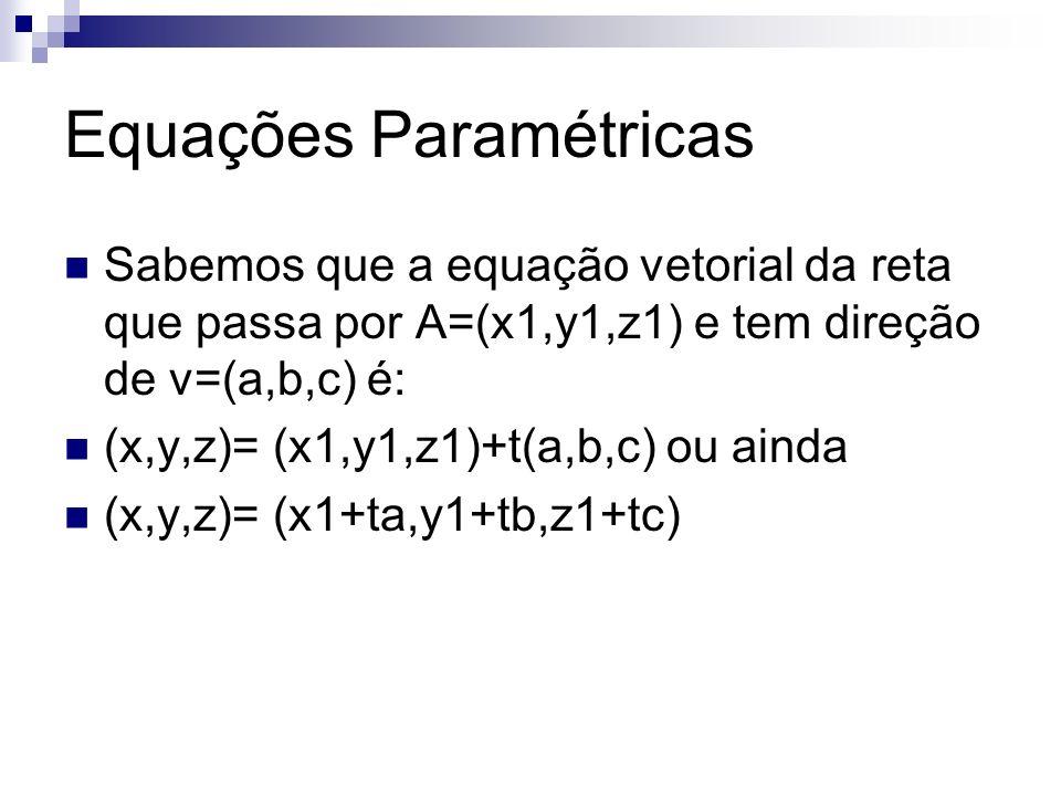 Equações Paramétricas Sabemos que a equação vetorial da reta que passa por A=(x1,y1,z1) e tem direção de v=(a,b,c) é: (x,y,z)= (x1,y1,z1)+t(a,b,c) ou