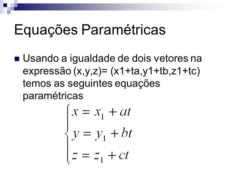 Equações Paramétricas Usando a igualdade de dois vetores na expressão (x,y,z)= (x1+ta,y1+tb,z1+tc) temos as seguintes equações paramétricas