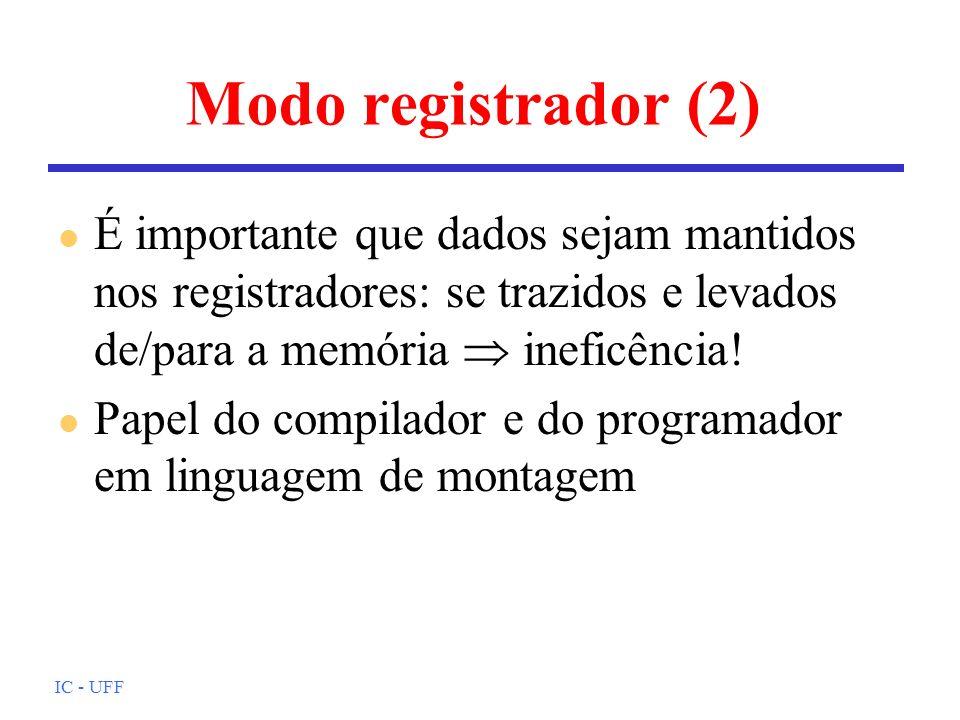 IC - UFF Modo registrador (2) l É importante que dados sejam mantidos nos registradores: se trazidos e levados de/para a memória ineficência! l Papel