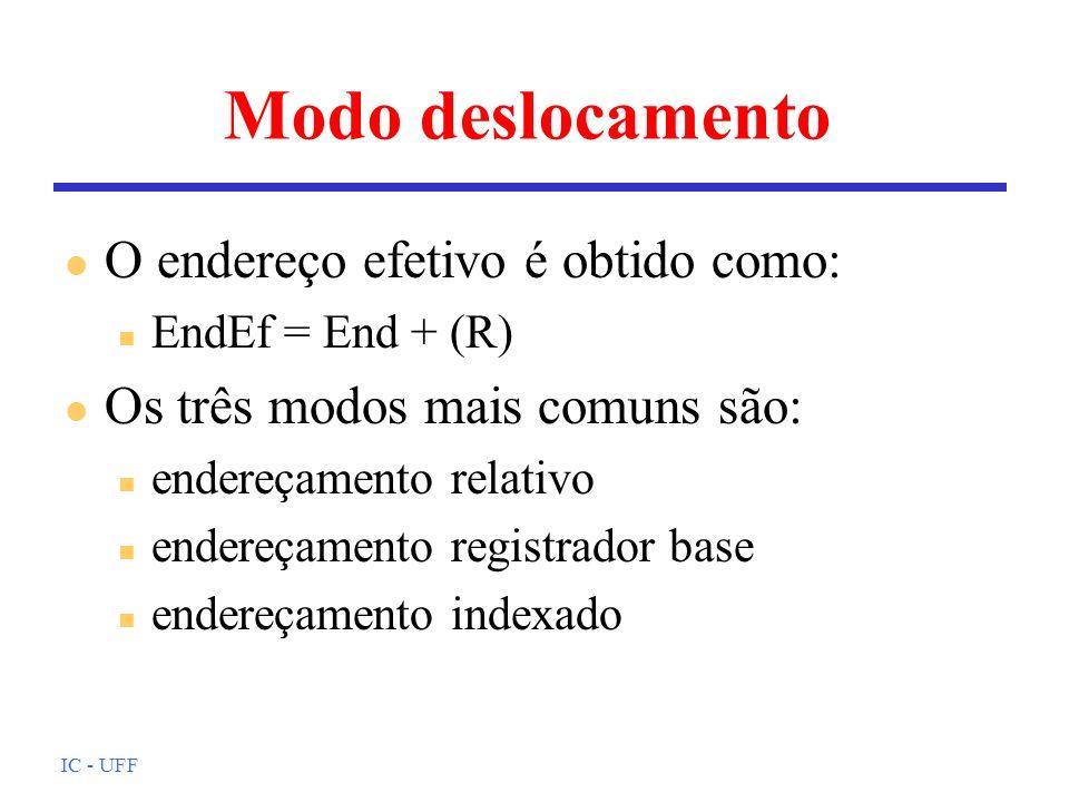 IC - UFF Modo deslocamento l O endereço efetivo é obtido como: n EndEf = End + (R) l Os três modos mais comuns são: n endereçamento relativo n endereç