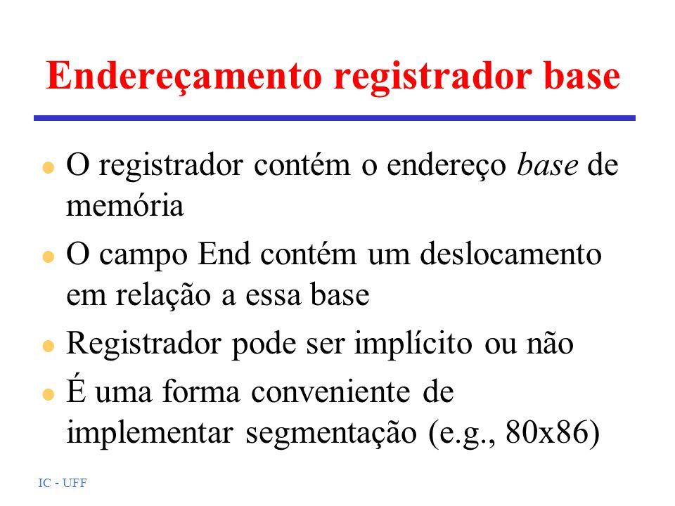 IC - UFF Endereçamento registrador base l O registrador contém o endereço base de memória l O campo End contém um deslocamento em relação a essa base
